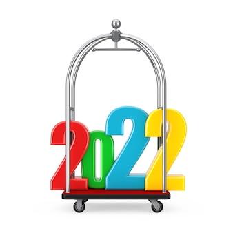 Kolorowy znak nowego roku 2022 nad wózkiem wózka bagażowego silver chrome luxury hotel na białym tle. renderowanie 3d