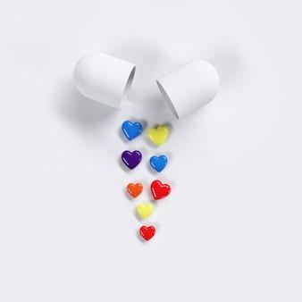 Kolorowych pigułek pojęcia kierowy pomysł na białym koloru tle. minimalne pomysły na walentynki. renderowanie 3d.