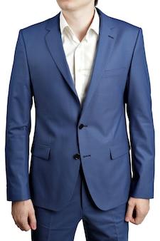 Kolory oceanu niebieski stylowy męski garnitur, kurtka z dwoma guzikami na białym tle.