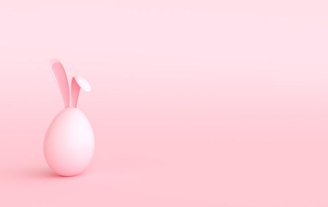 Koloryzująca pisanka z uszami królika na pastelowym różu.
