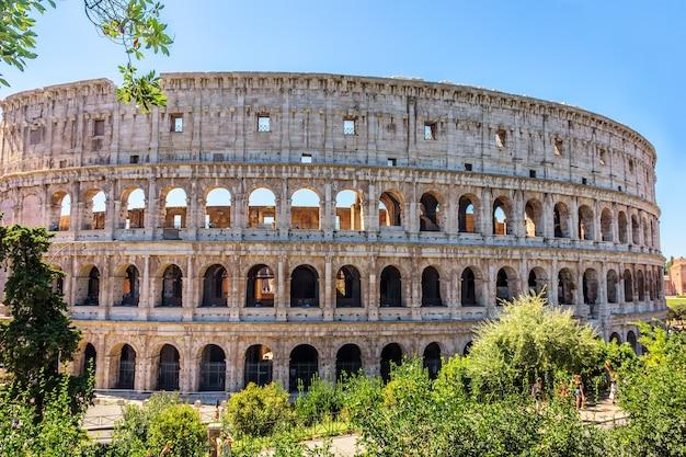 Koloseum wśród zieleni, widok letni, brak ludzi, rzym, włochy