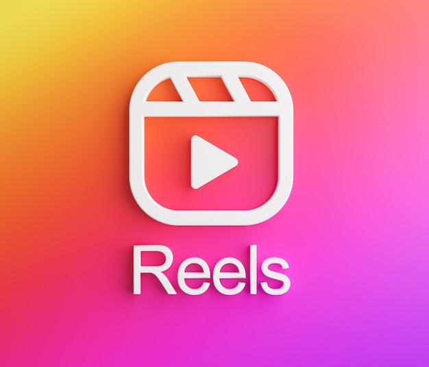 Kołowrotki logo instagram. nowa funkcja renderowanie 3d aplikacji mediów społecznościowych
