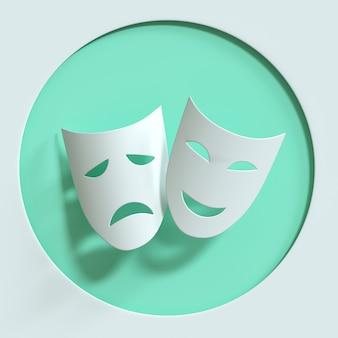 Komedia i tragedia symbol masek teatralnych ikona maski teatralnej