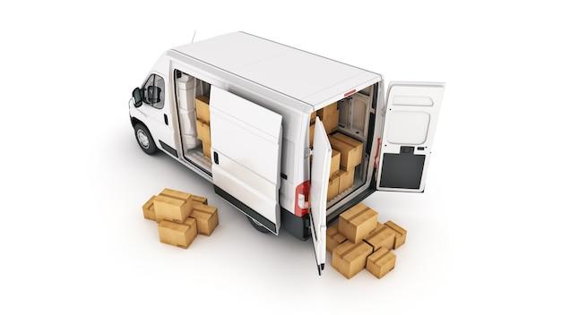 Komercyjne samochody dostawcze z kartonami renderowania 3d