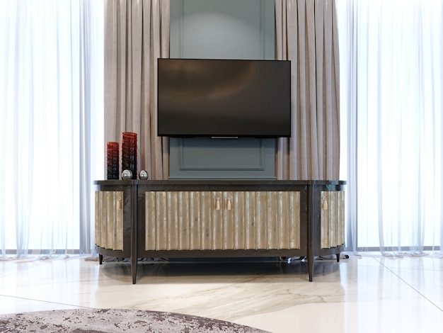 Komoda z telewizorem pod ścianą w nowoczesnym, klasycznym stylu. renderowanie 3d