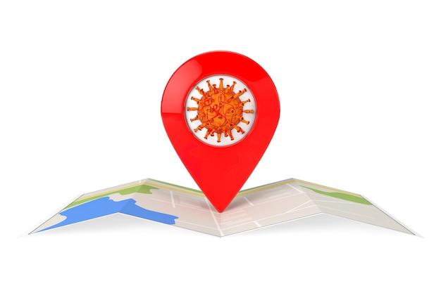 Komórka koronawirusa covid-19 z czerwonym wskaźnikiem mapy nad abstrakcyjną mapą miasta na białym tle. renderowanie 3d