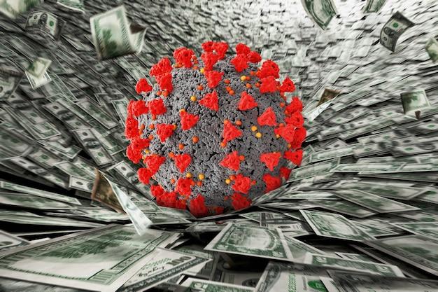 Komórka koronawirusa spadająca na wiele banknotów dolarowych