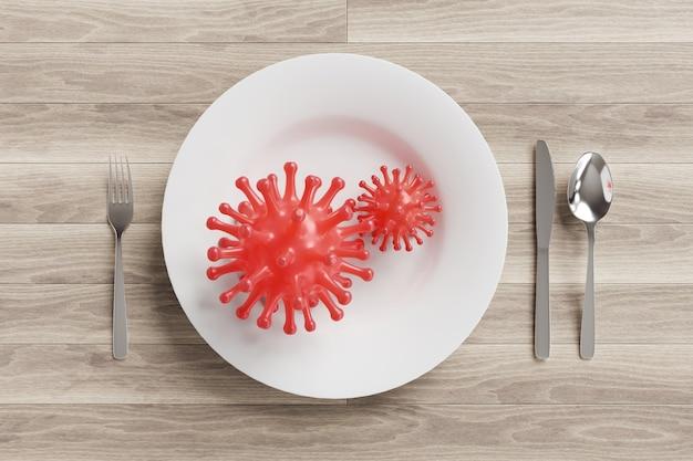 Komórki wirusa covid-19 na naczyniu na stole śniadaniowym.
