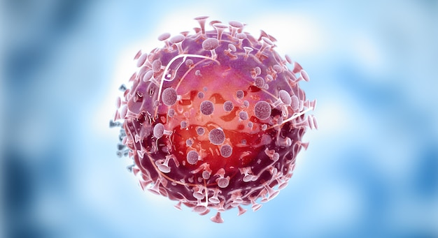Komórki wirusa lub cząsteczka bakterii. grypa, widok wirusa pod mikroskopem, choroba zakaźna
