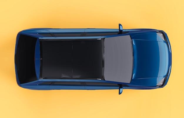 Kompaktowy crossover miejski w kolorze niebieskim na żółtym tle. widok z góry. renderowanie 3d.