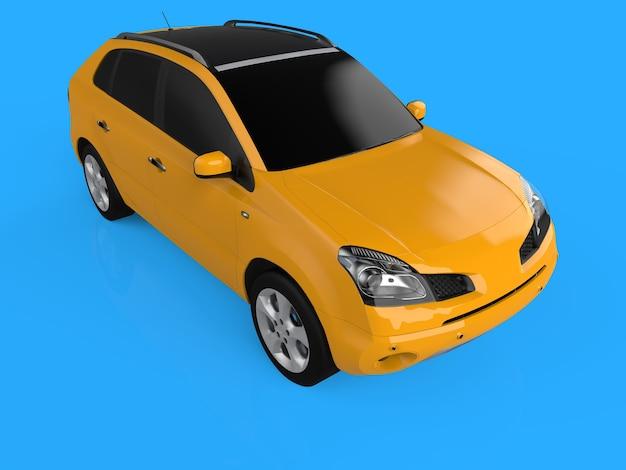 Kompaktowy crossover miejski w kolorze żółtym na niebieskim tle. widok jest z przodu po prawej stronie i nieco powyżej. renderowanie 3d.