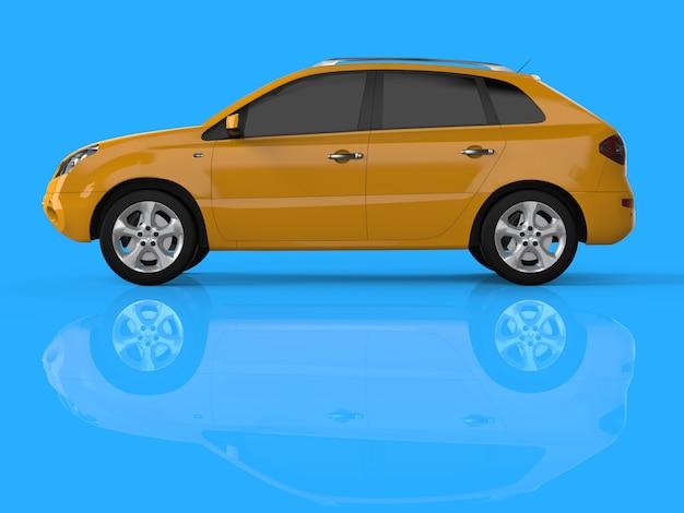 Kompaktowy crossover miejski w kolorze żółtym na niebieskim tle. widok z lewej. renderowanie 3d.