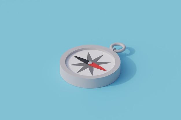 Kompas pojedynczy izolowany obiekt. renderowanie 3d