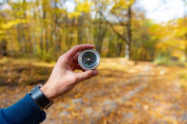 Kompas ręka człowieka z lasem jesień