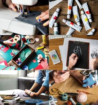 Kompilacja obrazów o tematyce artystycznej i rzemieślniczej