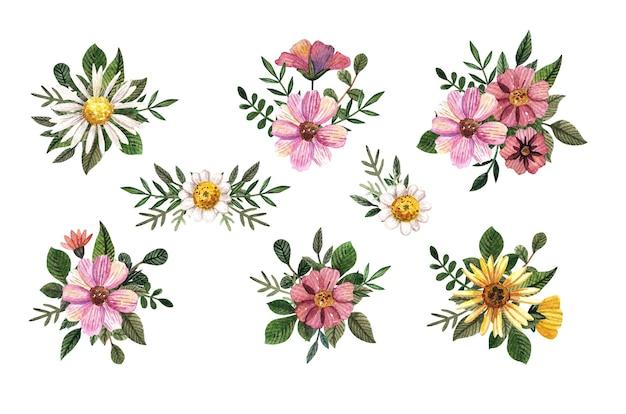 Komplet akwareli tłoczonych kompozycji kwiatowych. rumianek z zielonymi liśćmi. romantyczne suche dzikie kwiaty.