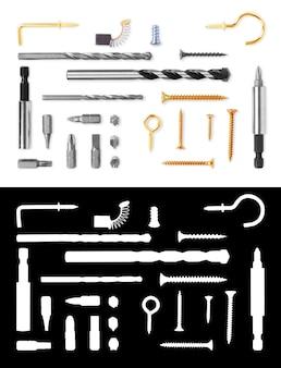 Komplet wkrętów wkręty gwoździe wiertła haki bity i inne narzędzia budowlane