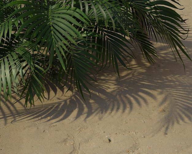Kompozycja 3d zielonych liści palmowych