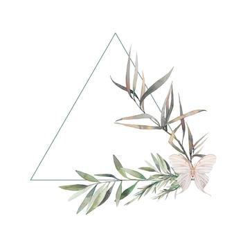 Kompozycja akwarela z zielenią i motylem. ręcznie rysowane trójkąt ramki. nowoczesne kwiatowy wzór etykiety na białym tle.