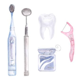 Kompozycja akwareli na temat stomatologii. elementy opieki dentystycznej