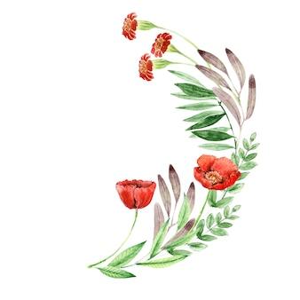 Kompozycja akwarelowa z ręcznie rysowanymi kwiatami i liśćmi
