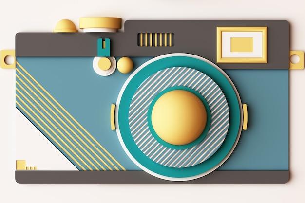 Kompozycja aparatu o geometrycznych kształtach w stylu memphis w odcieniach żółci i zieleni. ilustracja renderowania 3d