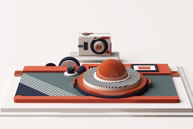 Kompozycja aparatu o geometrycznych kształtach w stylu memphis w odcieniu pomarańczowym i niebieskim. ilustracja renderowania 3d