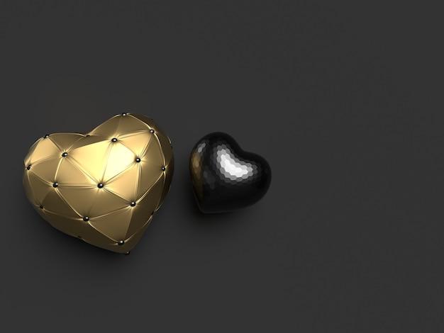 Kompozycja czarnych i złotych serc