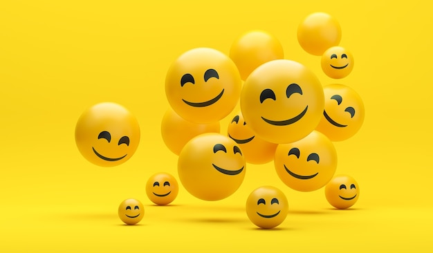 Kompozycja emoji na światowy dzień uśmiechu