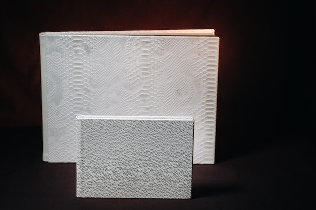 Kompozycja fotoksiążek w różnych rozmiarach z naturalnej białej skóry