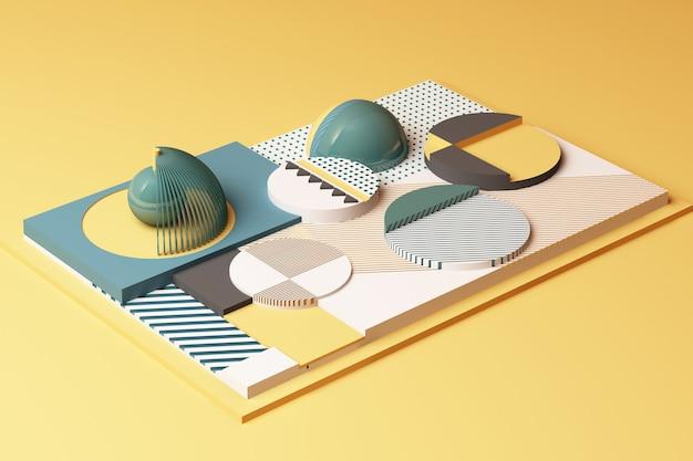 Kompozycja geometrycznych kształtów w pastelowej żółto-zielonej tonacji. ilustracja renderowania 3d