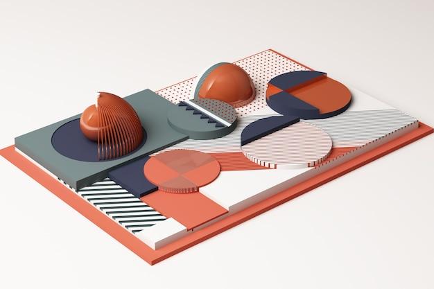 Kompozycja geometrycznych kształtów w pastelowych odcieniach pomarańczy i błękitu. ilustracja renderowania 3d