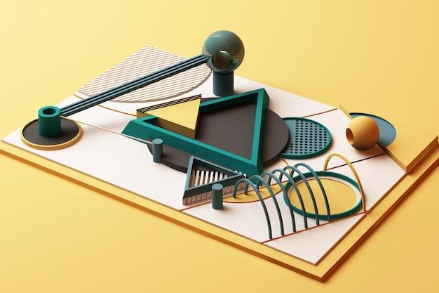 Kompozycja geometrycznych kształtów w stylu memphis w odcieniach żółci i zieleni. ilustracja renderowania 3d