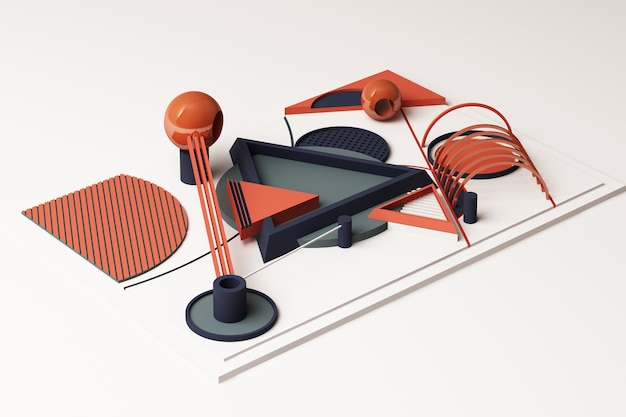 Kompozycja geometrycznych kształtów w stylu memphis w odcieniu pomarańczowym i niebieskim. ilustracja renderowania 3d
