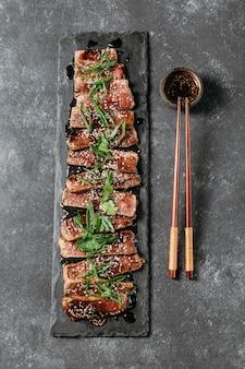 Kompozycja japońskiego posiłku płaskiego świeckich