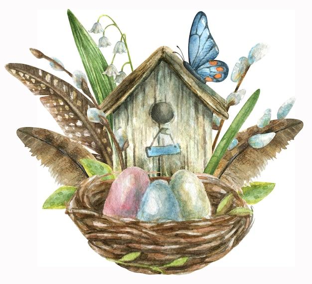Kompozycja jest rysowana ręcznie. gniazdo z kolorowymi jajkami, ptaszarnia z piórami, gałązkami wierzby i kwiatami, motylami i białymi konwaliami.