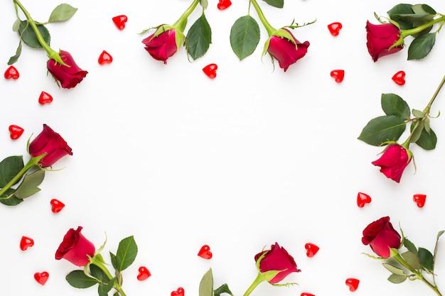 Kompozycja kwiatów. rama wykonana z czerwonej róży na białym tle. leżał na płasko, widok z góry, miejsce na kopię.