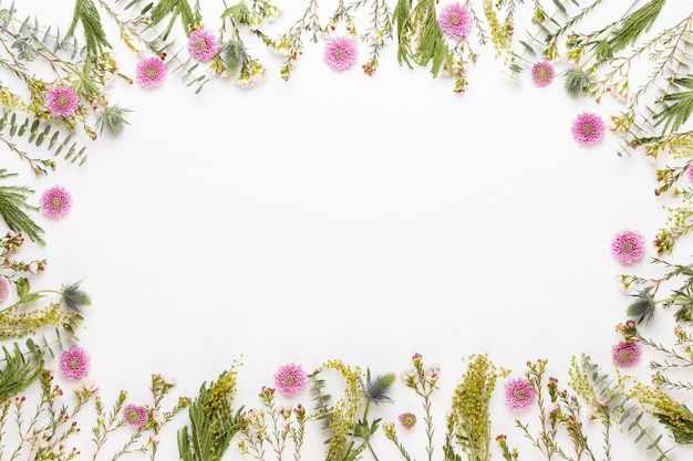 Kompozycja kwiatów. rama wykonana z pastelowej gerbera na białym tle. leżał na płasko, widok z góry, miejsce na kopię.