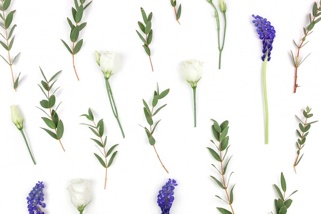 Kompozycja kwiatów. wzór róż, zieleni i polne kwiaty na białym tle. leżał płasko, widok z góry.