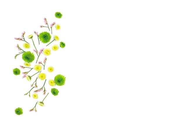 Kompozycja kwiatów. wzór wykonany z chryzantem leżał płasko, widok z góry, kwadrat.
