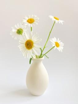 Kompozycja kwiatowa. high-key fotografia z białym rumiankiem w glinianym wazonie na białym tle. szablon światła naturalnego dla twoich projektów.