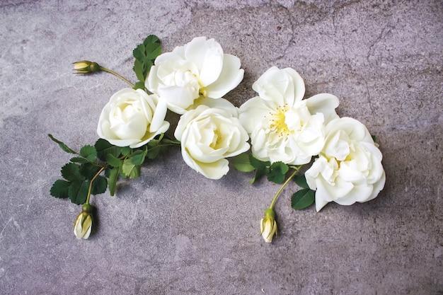 Kompozycja kwiatowa na szarym tle. płaski świeckich, widok z góry.