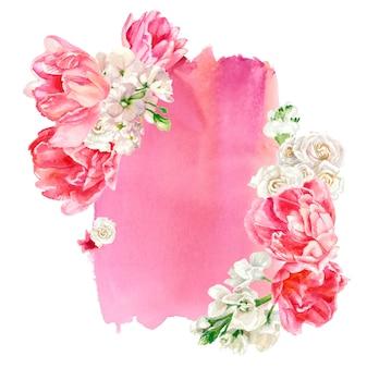 Kompozycja kwiatowa na tle różowej plamy akwarela, na białym tle. malowanie ręczne. pastelowe kolory