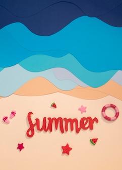 Kompozycja letniej plaży wykonana z papieru