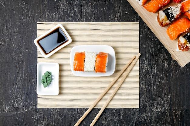 Kompozycja płasko świeckich tradycyjnych japońskich potraw