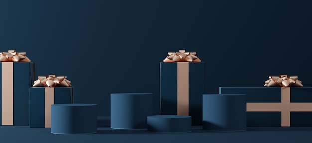 Kompozycja pudełek na prezenty z platformami do prezentacji produktów
