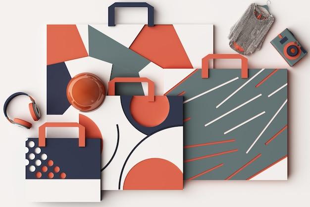 Kompozycja torby na zakupy według geometrycznych kształtów w stylu memphis w odcieniu pomarańczowym i niebieskim. ilustracja renderowania 3d