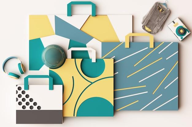 Kompozycja torby na zakupy według geometrycznych kształtów w stylu memphis w żółto-zielonej tonacji. ilustracja renderowania 3d