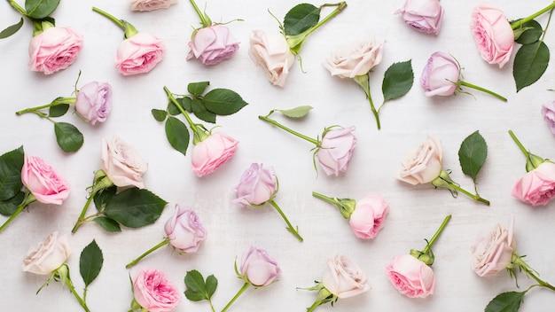 Kompozycja walentynki kwiaty. rama wykonana z różowej róży na szarym tle. leżał płasko, widok z góry, miejsce na kopię.