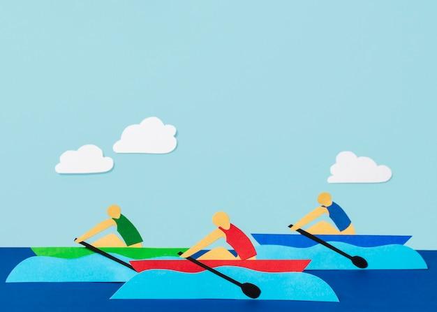 Kompozycja widoku z przodu kształtów igrzysk olimpijskich w stylu papieru